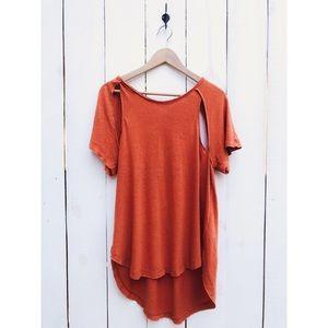 Free People Orange Cold Shoulder Cut Out Shirt Top